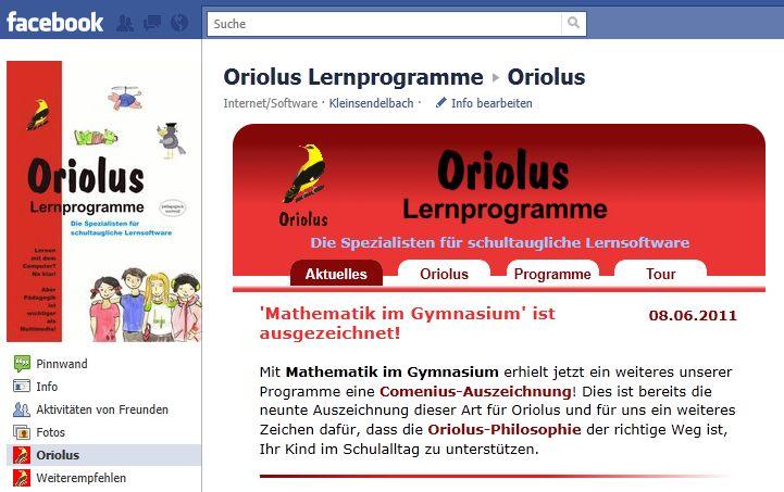 Oriolus Facebook-Seite