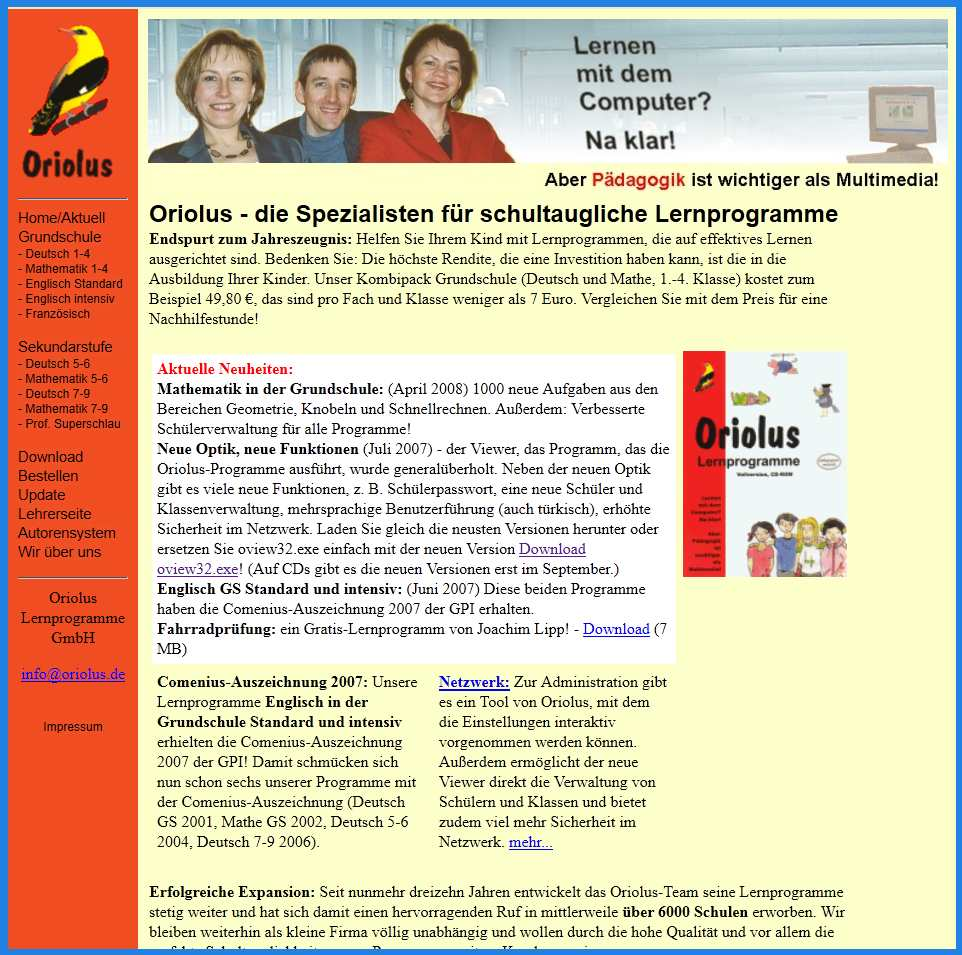 Oriolus Website 2008
